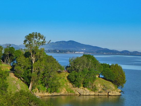 Looking north from the Shoreline Trail across San Pablo Bay